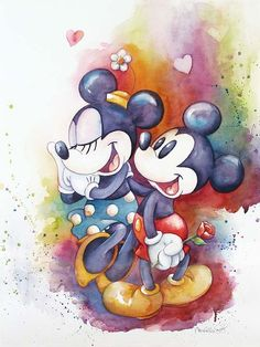 Mickey Mouse Artwork Michelle St. Laurent  Limited Edition Giclee on Canvas A Rose For Minnie
