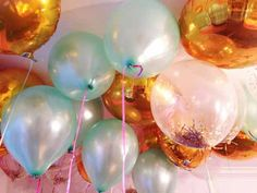 Gold and Mint Green Balloons with Hot Pink Ribbon