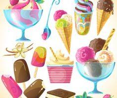 Ice cream elements background vector 02