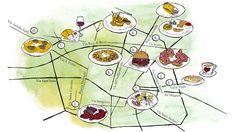 (1) Alce Nero Berbere: Pizza with prosciutto di Mora Romagnola, burrata, dried apricots, fior di latte. (2) All'Osteria Bottega: Baby pigeon breast with chicory and pancetta. (3) Il Gelatauro: Pistachio cake and cappuccino. (4) I Portici: Raviolo filled with Genovese-style rabbit, smoked buffalo provoke cheese, and field herbs. (5) Osteria da Mario: Focaccia and flatbread snacks with wine. (6) Ristorante Diana: Tortellini in brodo. (7) Ristorante Pappagallo: Three Fishes Hamburger with…
