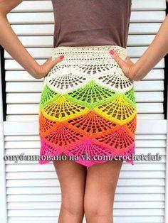 Patrón #1649: Falda Multicolor a Crochet #crochet  http://blgs.co/tId0t6