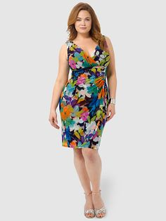 Side Ruched Floral Mesh Dress by London Times, Available in sizes 10/12,14W/16W,18W/20W/22W and 24W