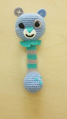 Crochet Blue Teddy bear.