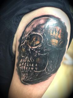 Fire Inside by Charl Richardson Professional Tattoo, Tattoo Studio, Skull, Fire, Tattoos, Tatuajes, Tattoo, Tattos, Skulls