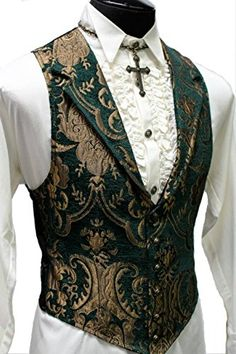 Shrine Gothic Aristocrat Victorian Tapestry Vintage Green Gold Retro Steampunk Jacket Vest  #steampunk #steampunkweb #steampunkshop