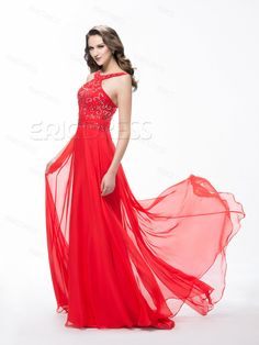 Beautiful Sweep Train Beadings A-Line Evening Dress Prom Dresses- ericdress.com 10886826
