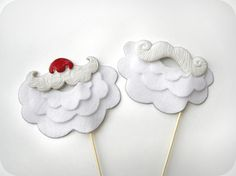2 Santa Mustaches with Beards on sticks - Holiday Christmas Photo Booth Props set of 2. $29.00, via Etsy.