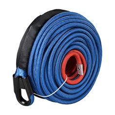 7500 lbs 1//4 50ft Synthetic Winch Rope Extension Cable ATV Line with Rock Guard Blue Max