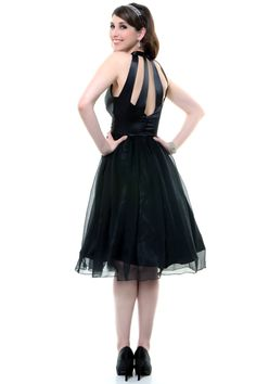 Black Satin & Chiffon Keyhole Cocktail Dress - Unique Vintage - Pinup, Holiday & Prom Dresses.