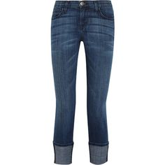 Current/Elliott The Cuffed mid-rise skinny jeans ($360) ❤ liked on Polyvore featuring jeans, pants, blue, medium rise jeans, wide cuff jeans, wide-leg jeans, denim skinny jeans and blue skinny jeans