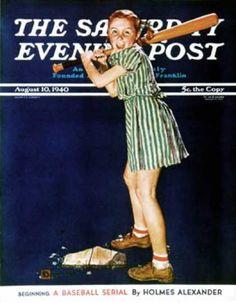 """""""Baseball girl"""" Sat. Eve Post Cover Illustration by Douglas Crockwell 08/10/1940"""