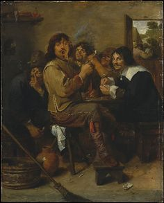 The Smokers Adriaen Brouwer (Flemish, Oudenaarde 1605/6–1638 Antwerp) Date: probably ca. 1636 Medium: Oil on wood Dimensions: 18 1/4 x 14 1/2 in. (46.4 x 36.8 cm) Classification: Paintings Credit Line: The Friedsam Collection, Bequest of Michael Friedsam, 1931 Accession Number: 32.100.21 This artwork is currently on display in Gallery 613