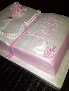 The Sweetest Tiers - Pink Bible First Communion Cake