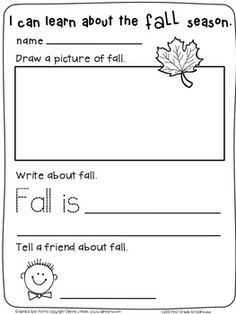 Fall Writing for Kinders. $ Kindergarten writing activities for the fall season.