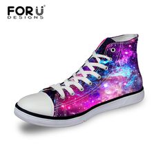 Hot Sale Women Casual Shoes 3D Universe Space Star Galaxy High-Top Shoes,Leisure Female Outdoor Canvas Shoes Breathable Flats