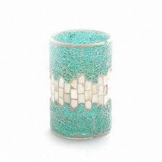 $1.99 Blue Silver Glass Mosaic Candle Holder with Shell Decoration