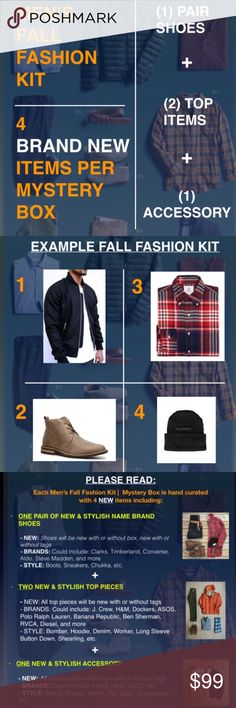 MEN'S FALL MYSTERY BOX (2 NEW ITEMS) *PLEASE READ*     *PRICE IS FIRM*    The items in this mystery box could be a complete look or could be individual pieces to pair for multiple looks. Each Men's Fall Fashion Kit | Mystery Box is hand curated with 2 BRAND NEW items including (1) top item + (1) accessory.   Brands could include: J. Crew, H&M, Dockers, ASOS, Polo Ralph Lauren, Banana Republic, Ben Sherman, RVCA, Diesel, ALDO, GAP, WESC, The North Face, OBEY, & more.    After purchase, please…