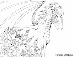 Adult Coloring Page - Dragon Coloring Page - Tangled Creatures.    This coloring page comes from the amazing coloring book Tangled Creatures. It has 50 hand drawn coloring pages. Each coloring page has animal that is tangled in its own environment. You can buy Tangled Creatures on Amazon.