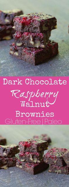 Dark Chocolate Raspberry Walnut Brownies Gluten Free Paleo