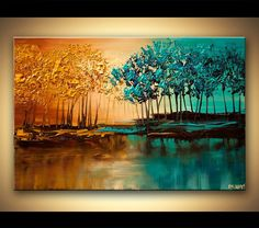 Original abstract art paintings by Osnat - modern landscape textured blooming trees painting