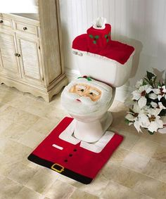 Santa Toilet Seat Cover and Rug Set from Collections Etc.