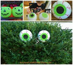 Spooky Bush Eyes - Spruce up your yard with these spooky bush eyes! The coolest thing about this idea is that they are made out of plastic pumpkin trick or treat buckets!