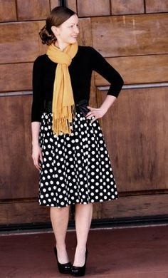 Sophine reversible polka dot mid length skirt with solid black reverse print available in S-3XL #reversibleskirts