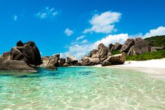 https://flic.kr/p/TJqqsE | Tropical natural beach with green lagoon, white sand and big rocks, Anse Marron beach in La Digue, Seychelles | Tropical natural pool of Anse Marron beach, La Digue, Seychelles