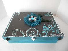 Memory Box Teal silver and Black Decoupage by TrulyUniqueBouquets, $45.00