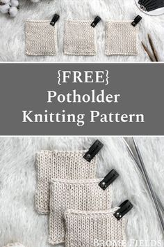 Grab this FREE Handy Little Potholder Knitting Pattern. This stitch takes easy to a whole new level. It's stockinette stitch on the front and back! Watch the video to see how it all comes together & apart. :) #bromefields #freeknittingpattern #knitpotholder #diypotholder