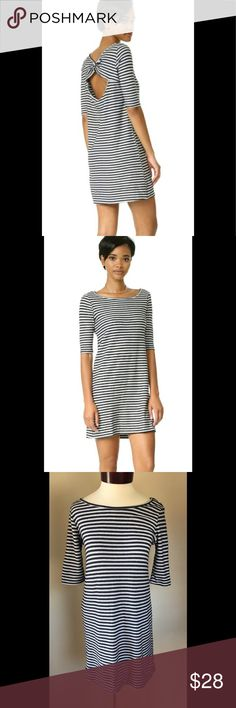 """Nwot Free People Frenchie T Dress S Very cute little dress from Free People We the Free. $88 retail nwot.  Black and white striped with a keyhole open back. Cute boat neck stile, 3/4 length sleeve.  Measurements taken flat:  Chest - 17""""  Shoulder - 17""""  Sleeve - 6.5""""  Overall length - shoulder to hem - 33"""" Free People Dresses"""