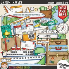 """Vacation and travel clip art and line art bundle! """"On Our Travels"""" includes 27 fun travel clipart illustrations created from my original hand painted artwork! Each design comes supplied as a full colour png, as well as black and white outline versions (in png and jpeg formats)."""