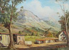 De Jongh, Gabriel | Farm landscape with Barn| Oil on canvas on board | Size: 445 x 590mm | Code: 10256 Gabriel, South African Artists, Artist Painting, Love Art, Landscape Paintings, Art Art, Oil On Canvas, Parks, Tutorials