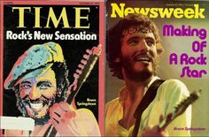 Bruce Springsteen  -  HISTORY  making,  LEGENDAARY,  BRUCE,  40  years ago today (Oct. 27, 1975,  first Rock Star, first celebrity ever, to land on the covers of  TIME  and  NEWSWEEK  in the same week.   .   .   .   .   thesamiposts