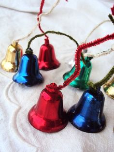 Vintage Christmas Bell Ornament Picks Mid by primitivepincushion