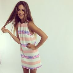 Easy summer shift dress, maybe stripe panels of red & white or light blue/mauve & blue soft floral