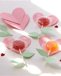 Heart-shaped Flower Lollipops Valentines Day craft