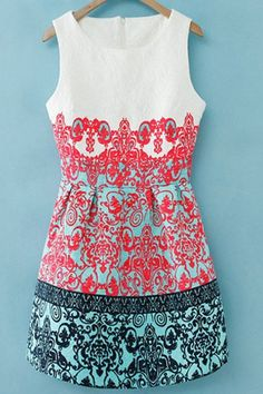 Retro Print Scoop Collar Sundress