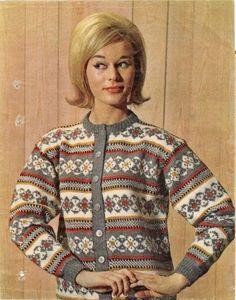 Ukjent, fra et ukeblad ~ 1960's pattern but love the colour combinations in this stranded cardigan