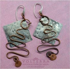 Sterling Silver and Copper Earrings by SunStones on Etsy, $28.00