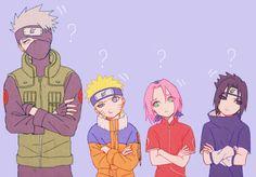 Kakashi, Naruto, Sakura and Sasuke Naruto Uzumaki Shippuden, Naruto Kakashi, Naruto Team 7, Naruto Gaiden, Naruto Comic, Naruto Cute, Boruto, Naruto Sasuke Sakura, Naruto Series