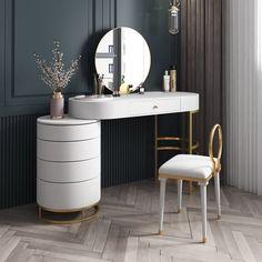 Mirrored Bedroom Furniture, Home Decor Furniture, Home Decor Bedroom, Furniture Design, Bedroom With Vanity, Makeup Furniture, Bedroom Furniture Placement, Bedroom Mirrors, Closet Vanity
