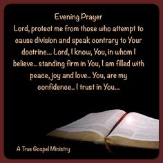 Evening Prayer Lord, protect me from those who attempt to cause division and speak contrary to Your doctrine... Lord, I know, You, in whom I believe.. standing firm in You, I am filled with peace, joy and love.. You, are my confidence.. I trust in You... #eveningprayer #atruegospelministry #scripturequote #biblequote #quote #seekgod #godsword #godislove #gospel #jesus #jesussaves #teamjesus #LHBK #youthministry #preach #testify #pray #rollin4Christ