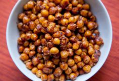 BBQ Chickpeas - ridiculously simple - super yummy! :) I baked mine about 20 minutes in little counter top convection oven. Could cook longer - but I was hungry ;)