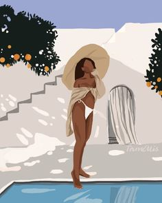 About: Toe dipping is a Handmade digital illustration inspired by summerSize: X inches 21 X cm X inches X 42 cmPaper: Luster Canon photo paper unframed Black Girl Cartoon, Black Girl Art, Girl Cartoon Characters, Cartoon Pics, Illustration Girl, Digital Illustration, Modern Art Paintings, Indian Paintings, Oil Paintings