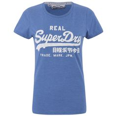 Superdry Women's Vintage Logo Entry T-Shirt - Royal Blue Marl ($32) ❤ liked on Polyvore featuring tops, t-shirts, blue, crew t shirt, cotton tee, royal blue tee, crew neck tee and print t shirts