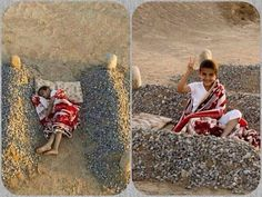 An image of a child purportedly lying between his parents' graves in Syria that exploded on Facebook and Twitter was actually a staged photo taken as part of an art project.