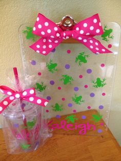 Gift set Personalized with name clear acrylic by DeLaDesign, $24.00