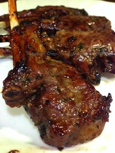 Miki's Food Archives : Honey & Parsley French Lamb Chop Goat Recipes, Lamb Chop Recipes, Beef Recipes, Cooking Recipes, Duck Recipes, Marinated Lamb, Grilled Lamb Chops, Lamb Chops Marinade, Cooking Tips