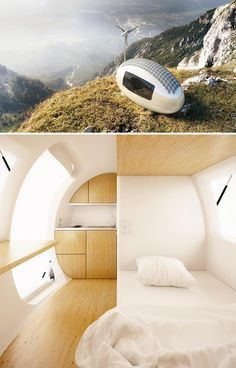 The Ecocapsule pod runs off wind and solar power.